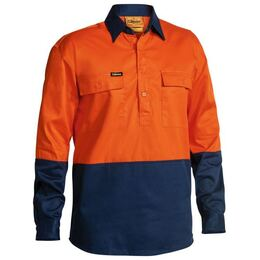 BISLEY BSC6267 - 190gsm Closed Front Hi Vis Cotton Drill L/S Shirt