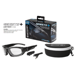 SCOPE Genisys Plus - Clear Safety Glasses with Rechargeable LED Temples, Hard Carry Case
