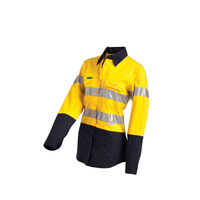 Ladies HiVis 2-Tone Lightweight Long Sleeve Reflective Shirt - 14