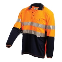 WORKIT Long Sleeve 2 Tone Poly Cotton Reflective Polo Shirt (5004T-ON)